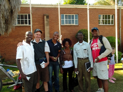 L to R: Phillip, Jono, Nhlanhla, Rebecca (baby Obedia on her back), Emmanuel, Lungisa, and Gary (photographer)