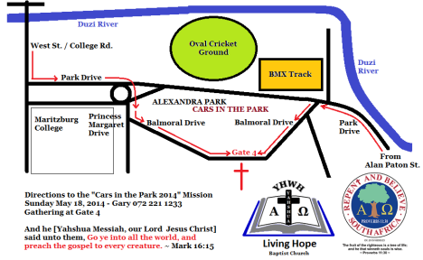 Directions to Cars in the Park 2014