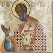 Saint Nicholas, as painted on the Kizhi monastery in Russia.
