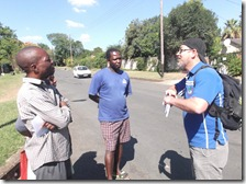 Discussions with Zimbabweans Tiko, Tsitsi and Onward on cnr Maud and Vere Roads