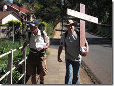 Jono and Gary crossing the Foxhillspruit bridge on Lindup Road