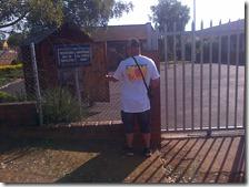 Marius outside Piet Retief Primary School