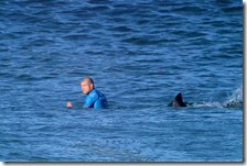 Mick Fanning and a shark at JBay on July 19, 2015