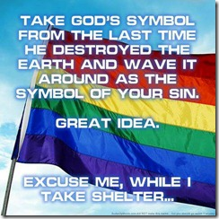 Homosexual mockery against God using His covenant rainbow