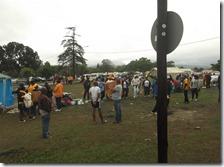 Crowds milling around