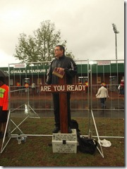 Gary preaching in the rain
