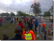The crowds entering
