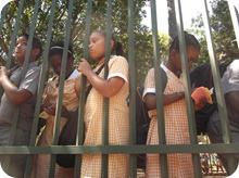 Scottsville PS outreach: girls reading the tracts