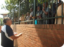 Scottsville PS outreach: Gary preaching to the pupils