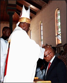 President Jacob Zuma receives blessings from Bishop Pius Mlungisi Dlungwane at St Joseph Catholic Church in Marianhill near Durban. (GCIS, Sapa)