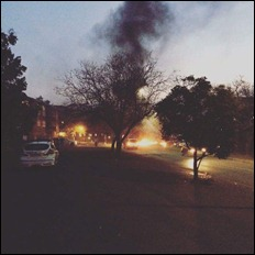 The University of KwaZulu Natal Pietermaritzburg campus resembles a war zone again this evening after students erupted in violent and disruptive protest. This in turn led to police and security tear gassing the students