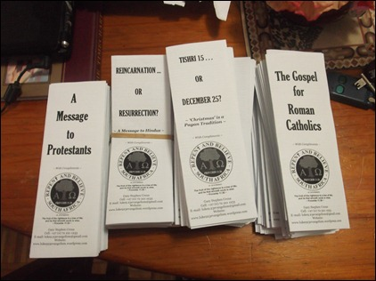 A sample of our own printed tracts