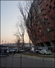 Police have barricaded the area were two males have died during a stampede at the FNB Stadium. (Larato Sejake, News24)