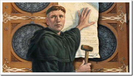 Martin Luther nailing his 95 Theses to the Schlosskirche door