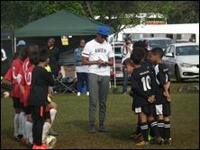 DCLFA (Durban)(L) and M.D.F.A. (Pietermaritzburg)(R) line-up before the match