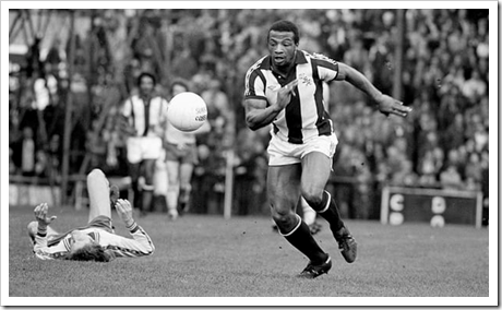 Cyrille Regis playing for West Bromwich Albion against Norwich City in 1978. Photograph: Mark Leech/Getty Images