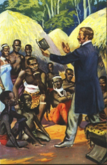 David Livingstone preaching to Africans