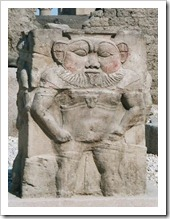Bes god at Dendera Temple in Egypt
