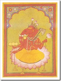 Ganesha Basohli miniature circa 1730 Dubost p73 - god of new beginnings, success and wisdom.