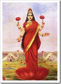 Raja Ravi Varma, goddess Lakshmi, 1896 - goddess of fortune, wealth, prosperity & beauty