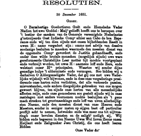 Resolution 30 December 1651