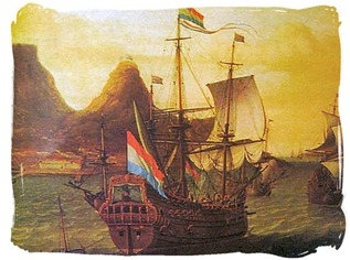 Dutch ships in Table Bay Cape Colony