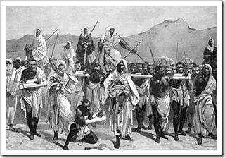A 19th-century engraving depicting an Arab slave-trading caravan transporting black African slaves across the Sahara [Photo: Wikipedia]