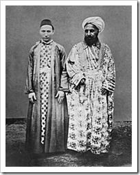 A Meccan merchant (right) and his Circassian slave. Entitled, 'Vornehmner Kaufmann mit seinem cirkassischen Sklaven' [Distinguished merchant and his circassian slave] by Christiaan Snouck Hurgronje, ca. 1888. [Photo: Wikipedia]
