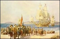 A painting of the Dutch landing at the Cape of Good Hope