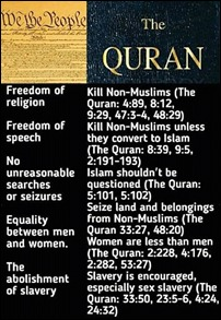 A comparison between certain 'freedoms' of the U.S. Constitution and the 'teachings' in the Qur'an