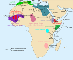 The main slave routes in medieval Africa [Photo: Wikipedia]