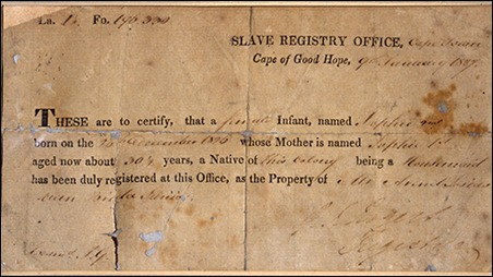 Certificate of Slave Registry Office, 1827